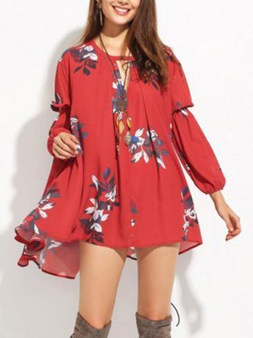 Chiffon Bohemia Floral Puff Sleeves V-neck Mini Dress