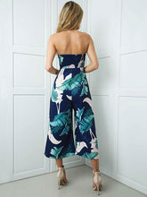 Load image into Gallery viewer, Leaves Printed Off-the-shoulder Backless Long Jumpsuits