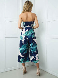 Leaves Printed Off-the-shoulder Backless Long Jumpsuits