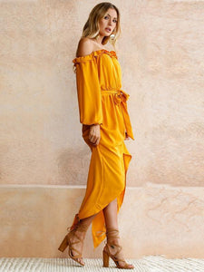 Yellow Long Sleeve Off-the-shoulder Split-side Maxi Dress