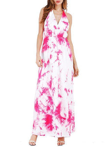Spaghetti-neck Halterneck Backless Maxi Dress
