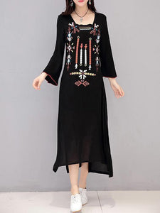 Bohemia Emboridered Printed Long Sleeve Maxi Dress