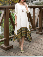 Load image into Gallery viewer, Autumn Asymmetric Retro Round-neck Half Sleeve Midi Dress