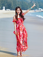 Load image into Gallery viewer, Beautiful Spaghetti-neck Floral Beach Maxi Dress
