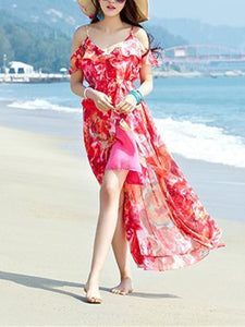 Beautiful Spaghetti-neck Floral Beach Maxi Dress