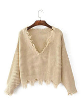 Load image into Gallery viewer, Knitting V-neck Cropped Tasselled Sweater Tops