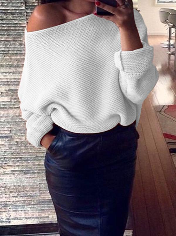 Sexy Solid Color Off-the-shoulder Sweater Tops