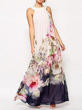 Load image into Gallery viewer, Chiffon Floral Printed Halterneck Sleeveless Maxi Dress