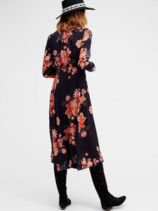 Bohemia Floral Split-side V-neck Maxi Dress