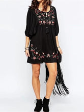 Load image into Gallery viewer, Bohemia Embroidered Round-neck Half Sleeves Mini Dress