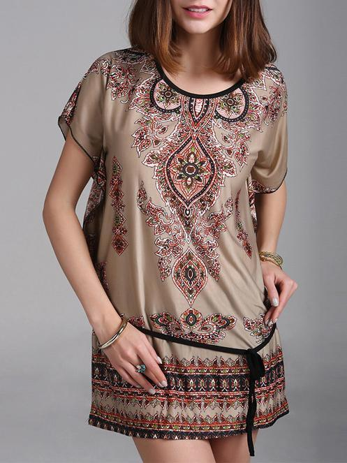 Bohemia Printed Batwing Sleeves Round-neck Mini Dress