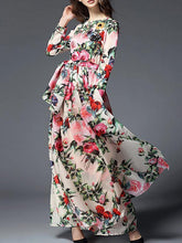 Load image into Gallery viewer, Floral-printed Belted Bohemia Maxi Dress