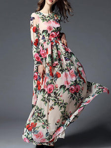 Floral-printed Belted Bohemia Maxi Dress