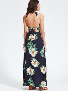 Bohemia Floral Halterneck Backless Sleeveless Maxi Dress