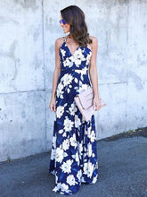 Load image into Gallery viewer, Floral Spaghetti-neck V-neck Backless Bohemia Maxi Dress
