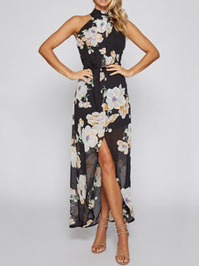 Floral Halterneck Split-front Backless Bohemia Maxi Dress