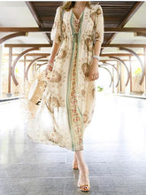Load image into Gallery viewer, Bohemia Chiffon Floral Printed V-neck Maxi Dress