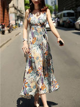 Load image into Gallery viewer, Bohemia Floral Printed Belted V-neck Split-side Maxi Dress