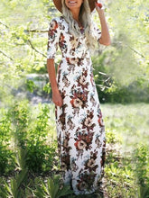 Load image into Gallery viewer, Bohemia Floral Printed Half Sleeves Maxi Dress