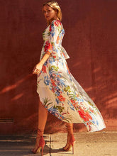 Load image into Gallery viewer, Floral Split-front Flared Sleeves V-neck Bohemia Maxi Dress