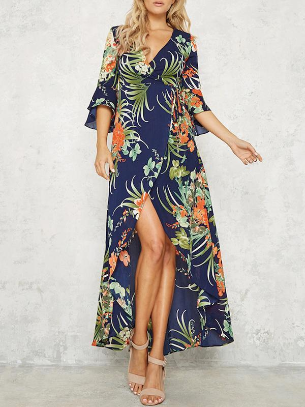 Floral Split-front Flared Sleeves V-neck Bohemia Maxi Dress