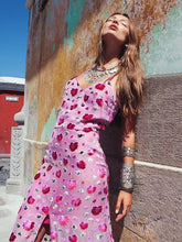 Load image into Gallery viewer, Floral Spaghetti-neck Split-front Backless V-neck Maxi Dress