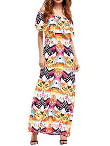 Bohemia Printed Falbala Off-the-shoulder Maxi Dress