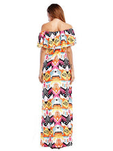 Load image into Gallery viewer, Bohemia Printed Falbala Off-the-shoulder Maxi Dress