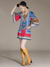 Load image into Gallery viewer, Flared Sleeves Round-neck Bohemia Mini Dresses