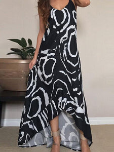 Printed Spaghetti-neck V-neck Backless Cropped Maxi Dress