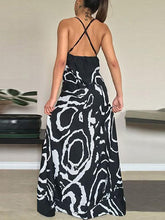 Load image into Gallery viewer, Printed Spaghetti-neck V-neck Backless Cropped Maxi Dress