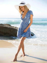 Load image into Gallery viewer, Blue Floral V-neck A-line Bohemia Mini Dress