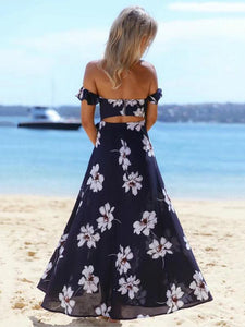 Blue Floral Off-the-shoulder Split-front Bohemia Maxi Dress