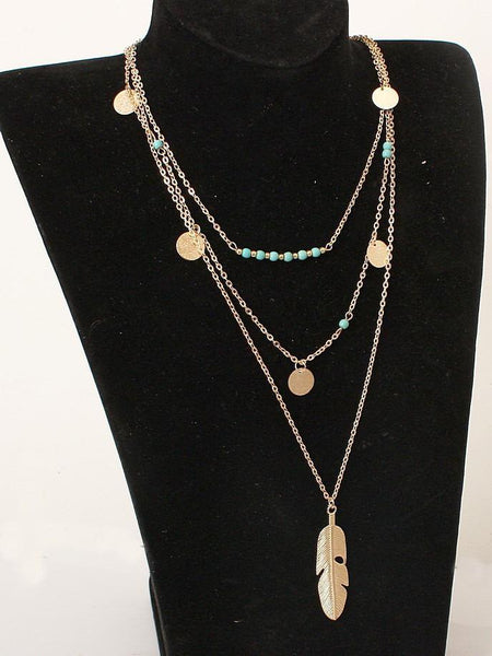 Simple Sequined Alloy&Turquoise Necklaces Accessories