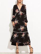 Load image into Gallery viewer, Bohemia Falbala Hollow V-neck Maxi Dress