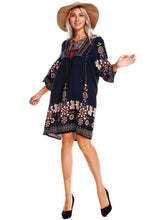 Load image into Gallery viewer, Bohemia 3/4 Sleeves Mini Dress