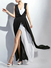 Load image into Gallery viewer, Fashion White&Black V-Neck Sleeveless Maxi Dress Evening Dress