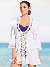 Load image into Gallery viewer, Pretty V-Neck Lace 3/4 Sleeve Blouse Cover-ups Tops