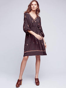 Bohemia Embroidered Loose Mini Dress