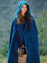 Load image into Gallery viewer, Blue Hooded Cloak Trench Cape Outwear