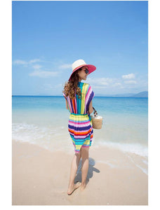 Stripe Deep V Beach Bikini Blouse Mini Dress