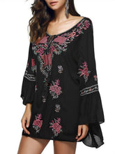 Load image into Gallery viewer, Bohemia Embroidered Tasseled Mini Dress