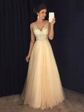 Load image into Gallery viewer, Elegant V-neck Split-joint Evening Dress