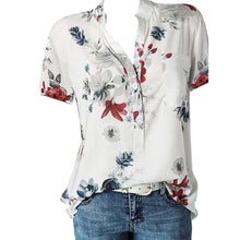 Load image into Gallery viewer, Fashion Women Blouses Printing Pocket Plus SizeShort Sleeve Tops
