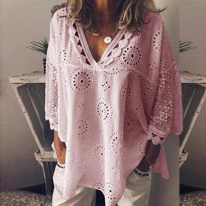 Summer Hot Women Half Sleeve Cotton Hollow-Out Lace Patchwork Shirt