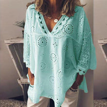 Load image into Gallery viewer, Summer Hot Women Half Sleeve Cotton Hollow-Out Lace Patchwork Shirt