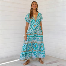 Load image into Gallery viewer, Designer Women's Summer Holiday Dress Retro Printed V-neck Long Dress