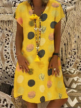 Load image into Gallery viewer, Fashion Multicolor Polka Dot V-neck Spliced Midi Dress
