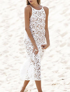 Pretty Hollow Crochet Backless Cover-Up Top