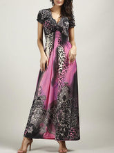 Load image into Gallery viewer, Beautiful Bohemia Floral Short Sleeve V Neck Maxi Dress